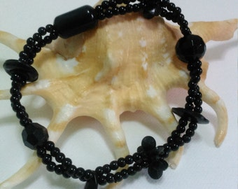 Handmade Jet Black Theme PVC Variety Shapes Beads Bracelet
