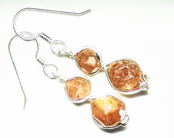 Garnet Earrings, Double Hessonite Garnet Crystal Earrings in Sterling Silver (9 tctw), Raw garnet crystals with a elegant dodecahedron form