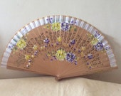 Regency/Victorian Style Fan. Handpainted, Natural wood lilac/yellow flowers. READY TO SHIP