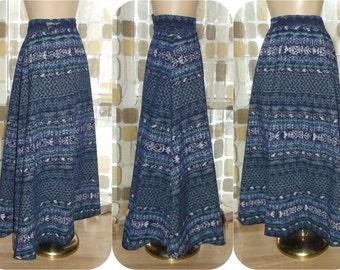 "Vintage 60s Skirt | 1960s Long Maxi Skirt | Southwestern IKAT Print | Metal Zipper | BOHO Festival Hippie | 29"" Waist Sz M/L"