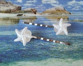 Starfish seaglass bobby pins 2 pc set with round flat bezel beach wedding hair accessories bridesmaids gifts sea glass sea star hair pin
