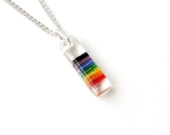 Rainbow Necklace, Rainbow Colour Resin Pendant, Gay Pride, Rainbow Jewelry, Resin Jewelry Jewellery, LGBT, UK, 2083
