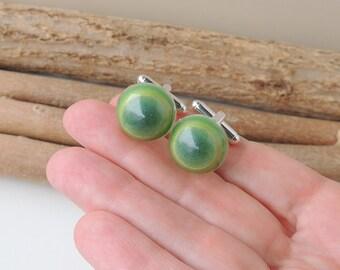 SALE: Green Stripe Cufflinks, Resin Jewellery, Resin Cufflinks, Quirky Cufflinks,  Seconds, UK (942)