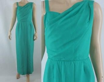 SALE Vintage Sixties Dress -  1960s Green Column Dress - 60s Chiffon Gown - XS Vintage Gown