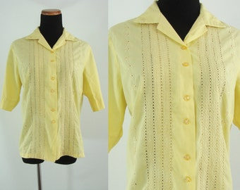 Vintage Sixties Blouse - 1960s Yellow Eyelet Button Up - 60s Half Sleeve Top - XL Summer Blouse