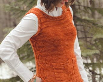 KNITTING PATTERN PDF file for cabled womens vest-Rollick