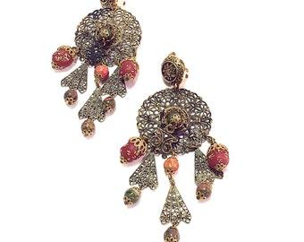 Vintage Filigree Earrings, Statement Dangle Chandelier Earrings,  Boho Hippie,  Gift for Her