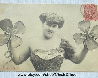 Antique Bergeret Postcard - Woman with Four Leaf Clovers