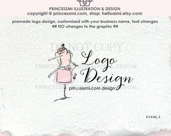 1446-1 Sewing logo, handmade clothes logo, Dress dummy logo, tailor boutique logo  , dressmaker logo by princessmi
