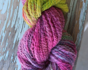 Pink Lime Hand spun art yarn thick and thin curly ply