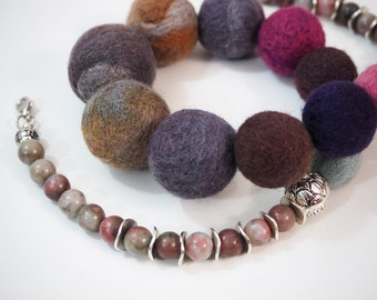 Pink Blue Grey Necklace Felted Ball Necklace Boho Natural Stone Necklace