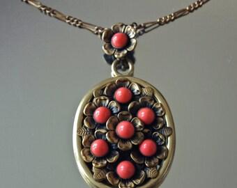 Czech Pendant 1930's Neiger Design Gablonz Coral Glass Flowers