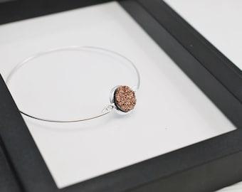 Rose Gold Druzy Bracelet, Druzy Bracelet, Bangle Bracelet, Faux Druzy, Rose Gold Bracelet, Silver Bracelet, Layering Bracelet, Free Shipping