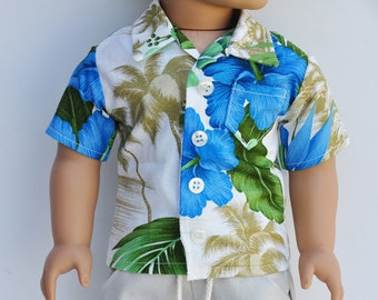 American Boy Doll - Hawaiian Shirt, Button Up, Tropical, Casual, Button Down, 18 inch, AG Doll Clothes