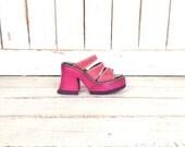 90s vintage pink leather London Underground chunky wooden platform clogs/open toe slip on club kid sandals/platform mules/7