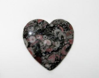 Fossil Heart Genuine Gemstone Agate Focal Pendant Bead Big 40mm Heart Pink White Grey Black Fossils Jewelry Supplies Statement Necklace Bead