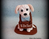 Wedding Cake Topper, Custom Cake Topper, Personalized, Dog, polymer clay, keepsake, I Do Too, sign