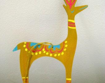 Vintage Mid Century Hand Painted Reindeer Ornament