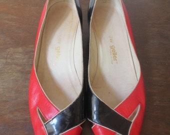 Vintage '80s Super Rad Vintage Andrew Gellar Leather 2-Tone Peep Toe Wedges! US Women's Sz 7