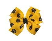 Yellow Gold Grosgrain with Black Paw Prints Medium Pinwheel Bow - Three Inch Pinwheel Bow - Missouri Tigers - Mizzou
