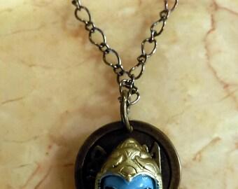 Hindu Deity Avatar w. Blue Face Necklace
