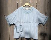 Upcycled, refashioned, repurposed, man's shirt, ladies tunic, blouse, blue plaid, size 4XL