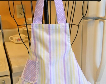 Retro Style Infant Toddler Apron in Stripes with Purple Polka Dots