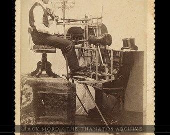 One Man Band Trumpet Violin Piano - Rare 1890s Cabinet Card Photo