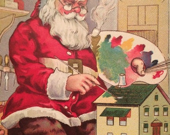 Vintage Christmas Postcard - Santa with Artist's Palette - Painting Dollhouse