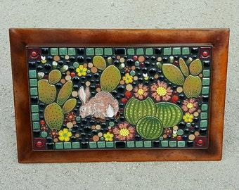 Horizontal cactus and hare, desert South West scene, handmade outdoor art tile