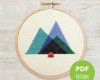 Appalachian Mountains - Minimal Mountains - Modern Geometric Cross Stitch - Embroidery PDF Pattern #002