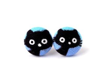 Cat earrings - kitten earrings - kawaii children kids cute black blue kitty