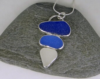 Three Color Sea Glass Bezel Pendant Necklace