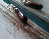 Chocolate brown fire agate drop earrings with vintage findings