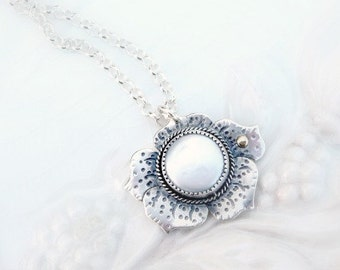 SALE - Coin Pearl with 14k Gold Dew Drop - Poppy Pendant, Sterling Silver, Genuine Pearl, Gift, OOAK