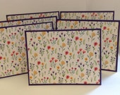 Wildflower Stationery, Purple Notes, Floral Notes, Colorful Flowers, Floral Stationery, 6 Cards and Envelopes