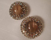 HOBE' CLIP EARRINGS / Clips / Murano Glass / Rhinestones / Designer Signed / Retro / Hollywood Glamour / Modernist / Chic / Accessories