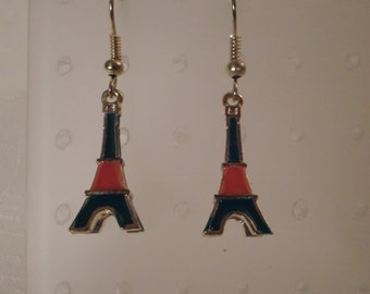 EIFFEL TOWER EARRINGS / Pierced / Paris / France / French / Enamel / Blue / Red / Gold / Travel / Monument / Chic / Trendy / Mod Accessories