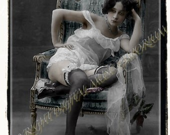 Instant Download Vintage Photograph - Waiting Risque Woman
