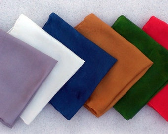 Set of 6 Holiday Playsilks -Red, Green, Gold, Silver, Blue, White ~ Hand Dyed ~ Waldorf Inspired!