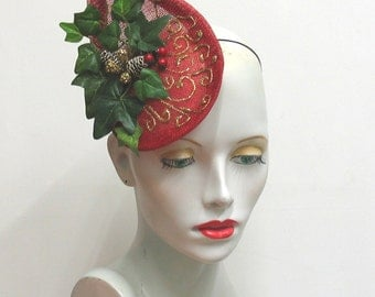 Christmas festive fun fascinator shaped red sinamay xmas hat gold detail ivy berries pine cones one size