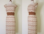 RESERVED vintage 1960s brown striped sheath dress / 60s Fourell tailored wiggle dress with gathered belt | XS