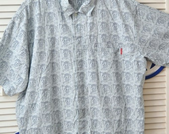 Vintage Mens Shirt 90s does 70s/Fat Albert/Hipster/FUBU Platinum/XXL Large/Cotton/Cartoon Character/Ice Blue/Button Front/