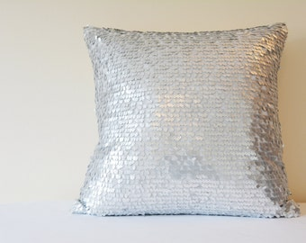 Silver Dancing Sequin Pillow Cover, Silver Sequin Cushion Cover , Silver Decor Pillow , Shiny Silver Metallic Pillow, Silver Scatter Cushion
