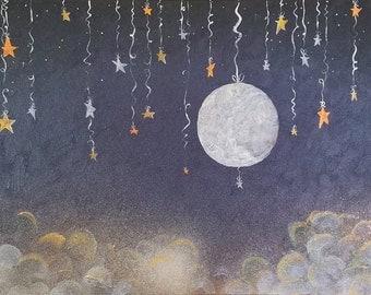 Ready to ship full moon starry night wall art