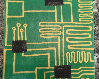 Circuit Board Painting 5 X 7 Acrylic on Cradled Birch Panel
