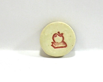 Ceramic Wine Stopper, Golf Ball Marker, Refrigerator Magnet - An Apple A Day, Teacher Gift (OOAK Custom Bottle Stopper, Kitchen Magnet)