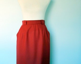 Vintage Yves Saint Laurent Pencil Skirt / 80s Red Wool Skirt / Small