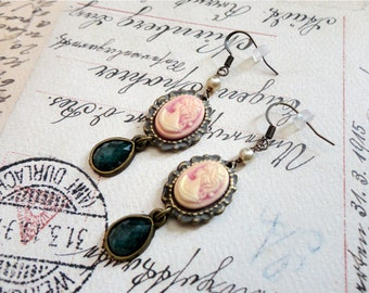 Romantic edwardian pink and white cameo earrings with teal green tear drop, pink cameo earrings, cameo dangly earrings, Lady Cambria