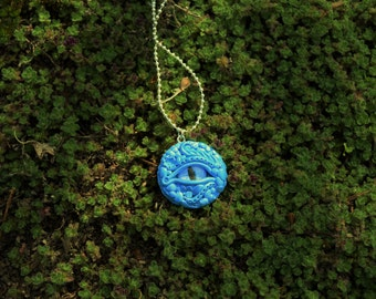 Dragon Eye Necklace, Water Dragon Necklace, Hand Sculpted with Handmade Glass Eye, Blue and Light Silver Dragon